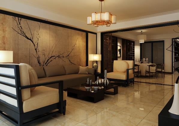 中式小户型客厅装修设计图片