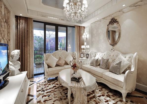 欧式风格80平米两室一厅装修效果图