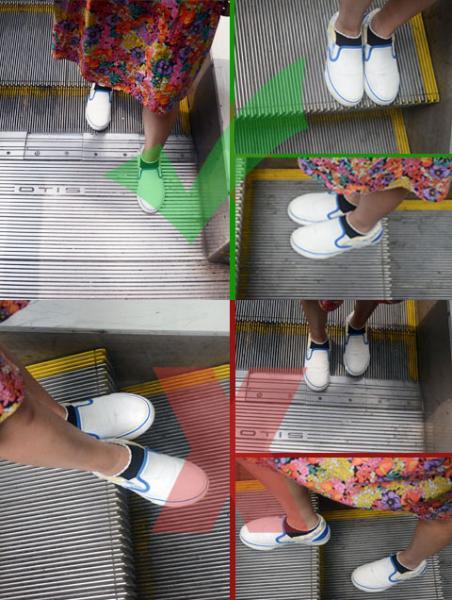 上下地铁扶梯时双脚的正确姿势