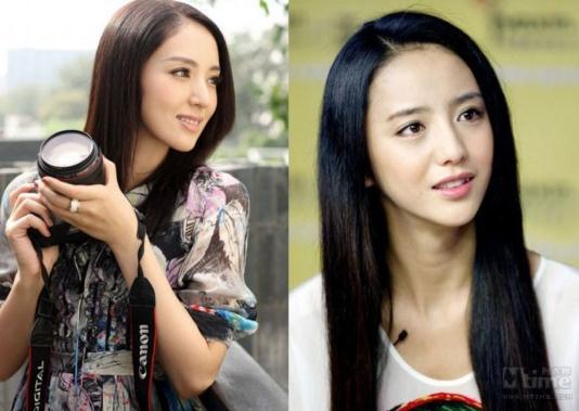国内外男女明星爆笑撞脸:董璇(左)与佟丽娅