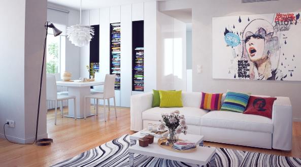 后现代风格40平米小户型客厅抽象画效果图-家装设计风格 常见的九种