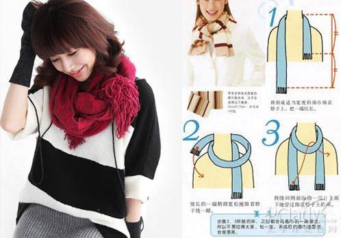 韩国最流行围巾系法图解