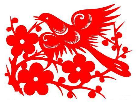 传统文化报春鸟剪纸矢量图
