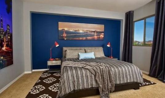 装修好的房间天蓝色壁纸图片大全